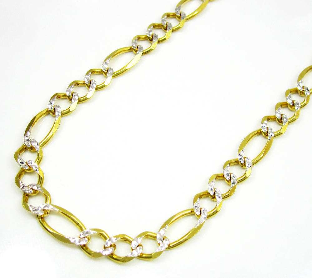 10k yellow gold diamond cut figaro chain 20-30 inch 5.5mm