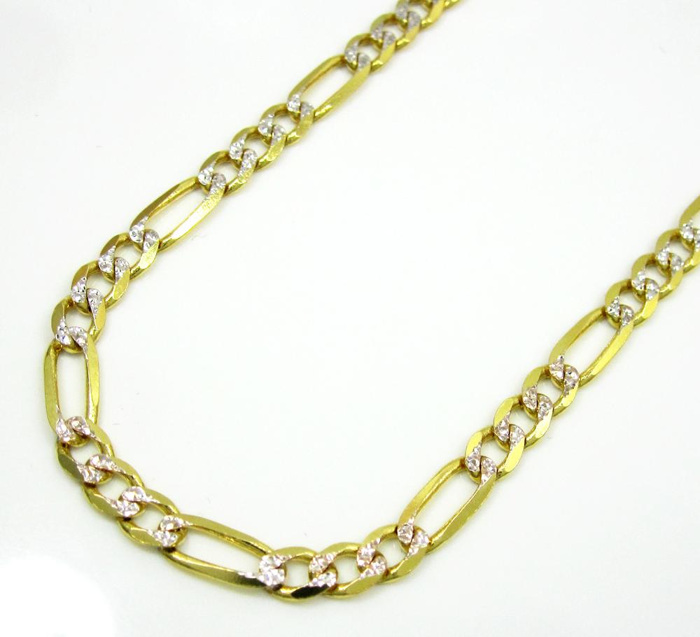 10k yellow gold diamond cut figaro chain 20-26 inch 3.8mm