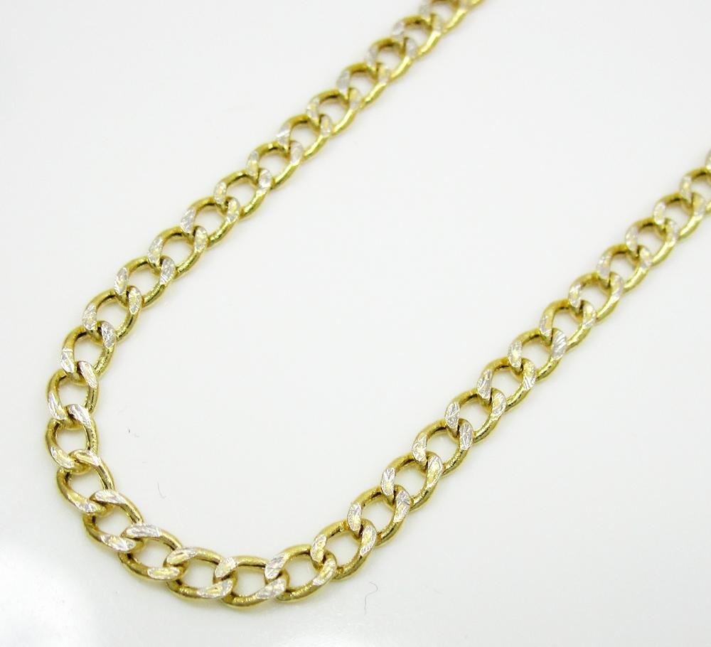 10K Yellow Gold Diamond Cut Cuban Chain 18-24 Inch 2.5mm