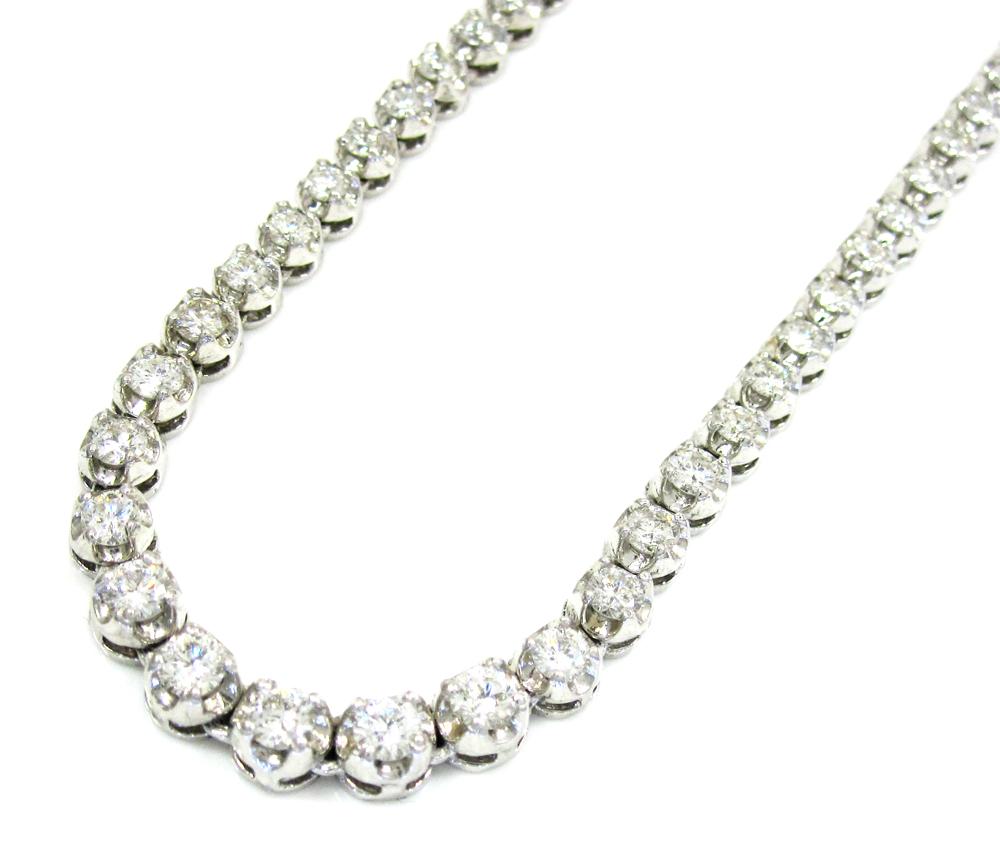 Ladies 18K White Gold Tennis Diamond Necklace 5.50CT