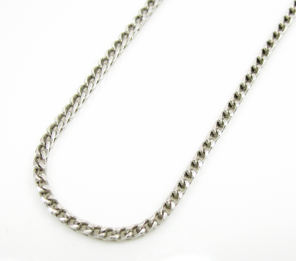 14k solid white gold franco chain 18-22 inch 1mm