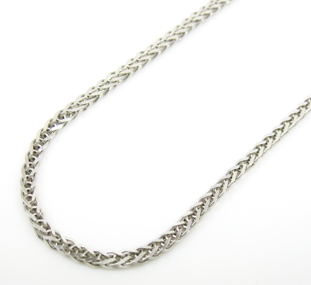 6ed335859e333 14K Solid White Gold Solid Wheat Chain 16-20 Inch 1mm