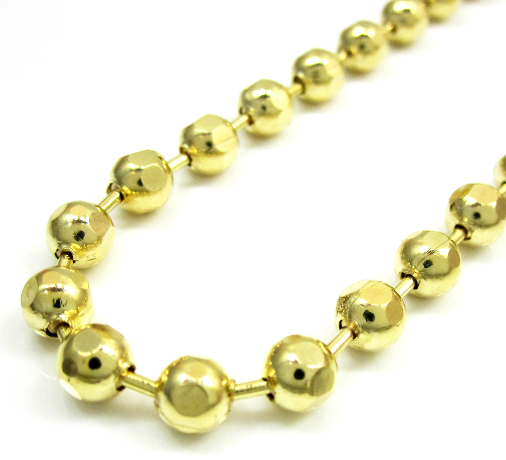 10k yellow gold hexagon cut ball chain 30-40 inch 5mm