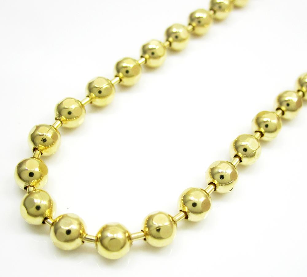10k yellow gold hexagon cut ball chain 26-40 inch 4mm