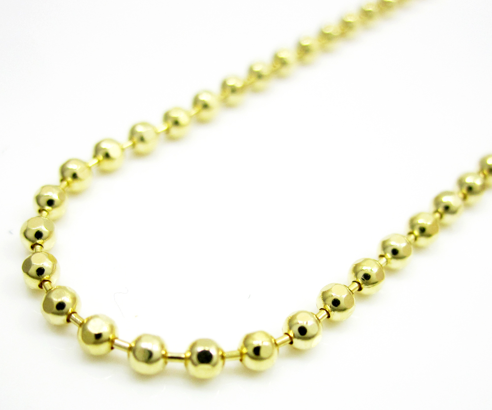 10k yellow gold hexagon cut ball chain 18-24 inch 1.5mm