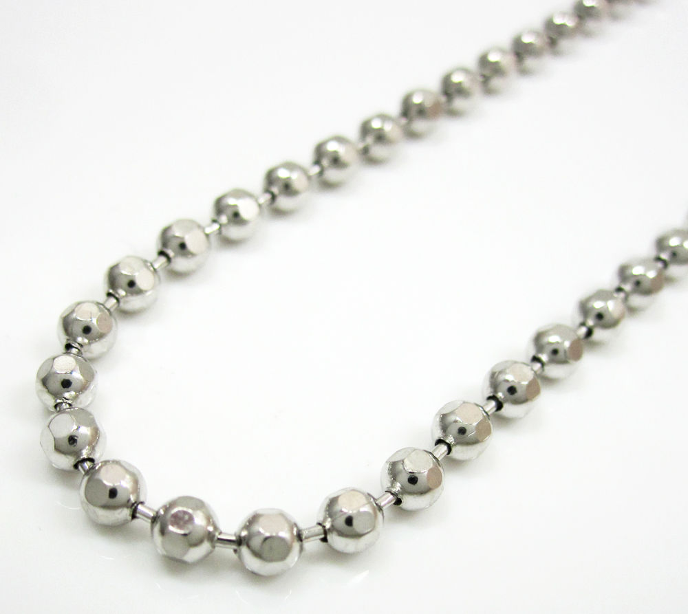 10k white gold hexagon cut ball chain 24-40 inch 2.8mm