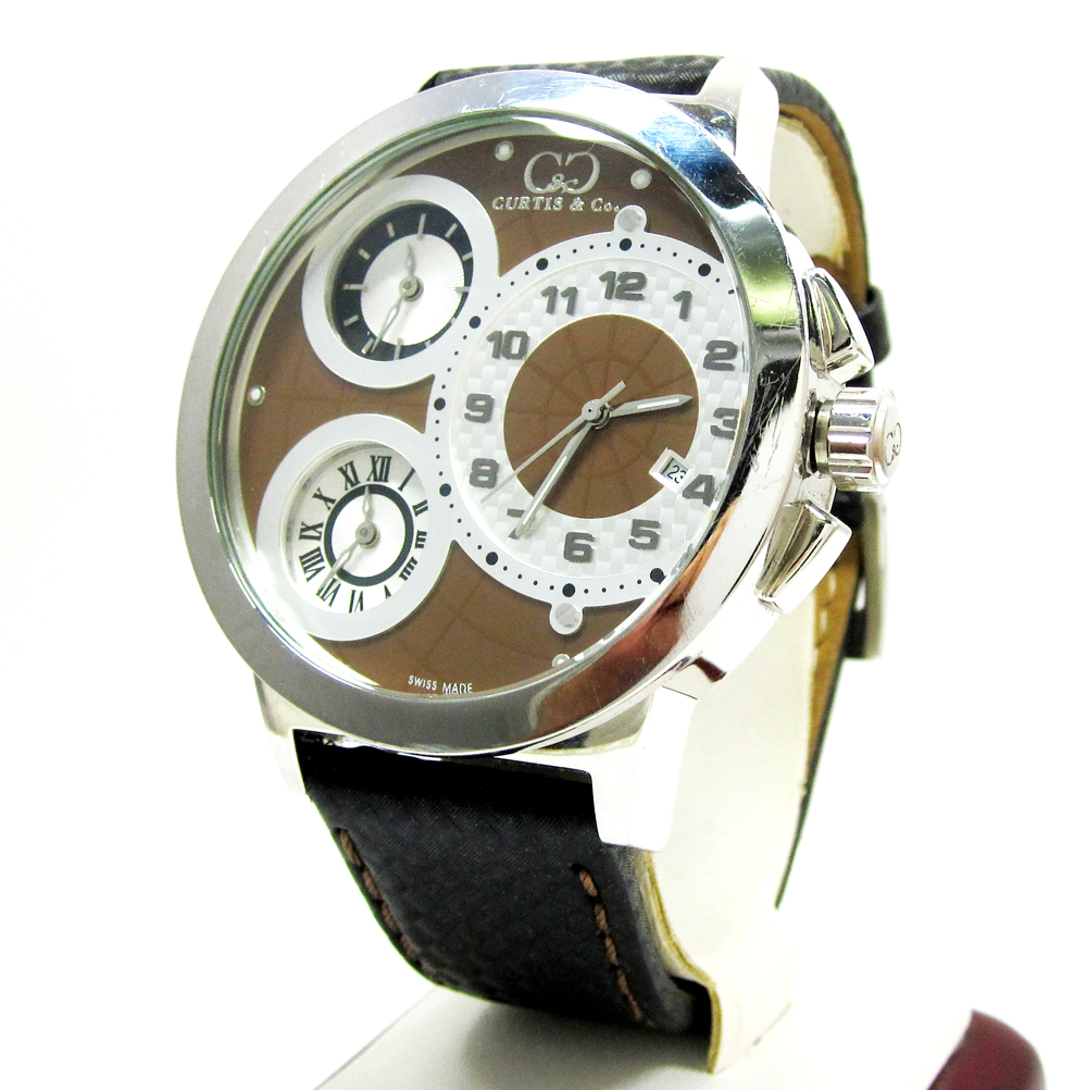 Curtis & Co Stainless Steel Big Time World 3 Time Zone Brown Watch