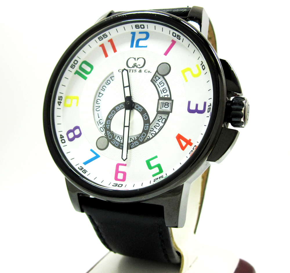 Curtis & Co Black Stainless Steel Big Time Cool White Watch