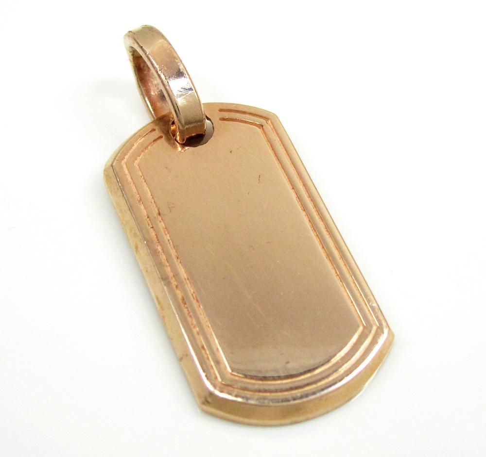 10k rose or yellow gold mini dog tag pendant