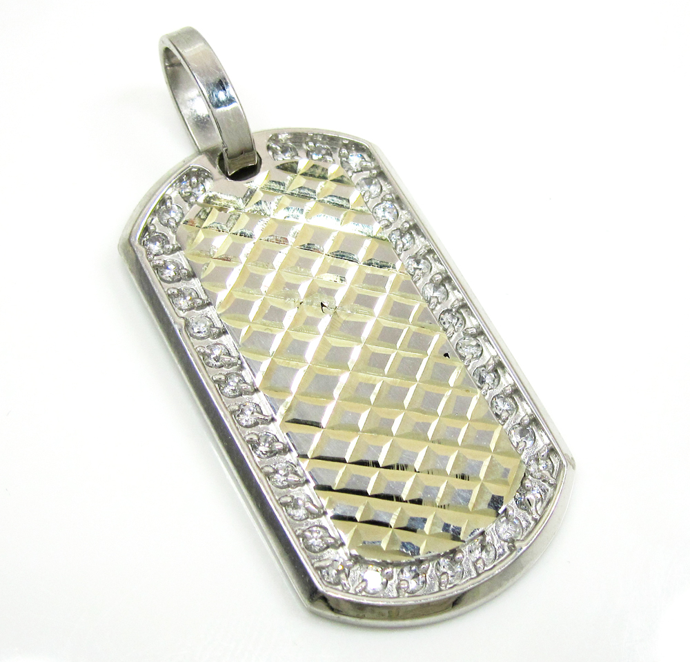 Mens 10k white gold cz diamond cut dog tag pendant 2.00ct