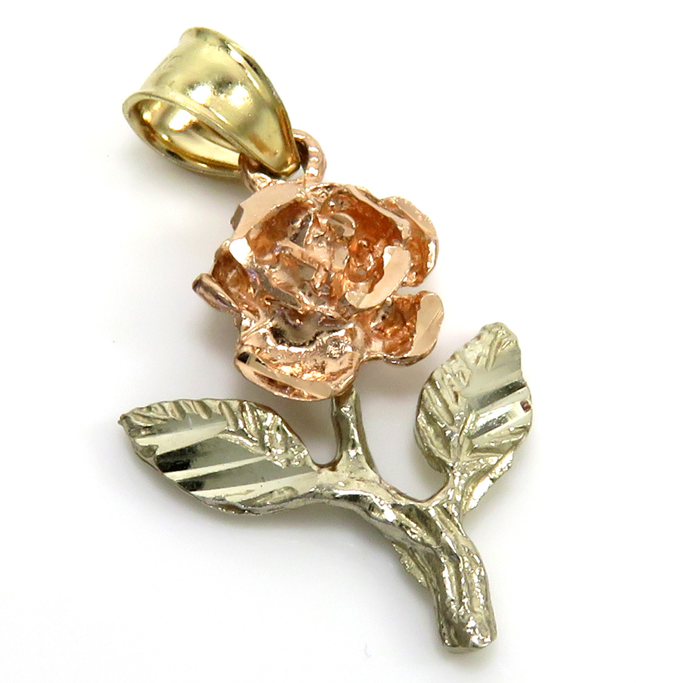 14k tri color gold rose pendant