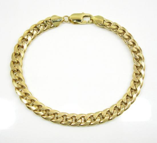 10k yellow gold hollow miami bracelet 8.5 inch 8.0mm