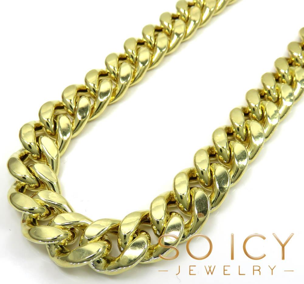 10k yellow gold wide miami cuban chain 13mm 24-34