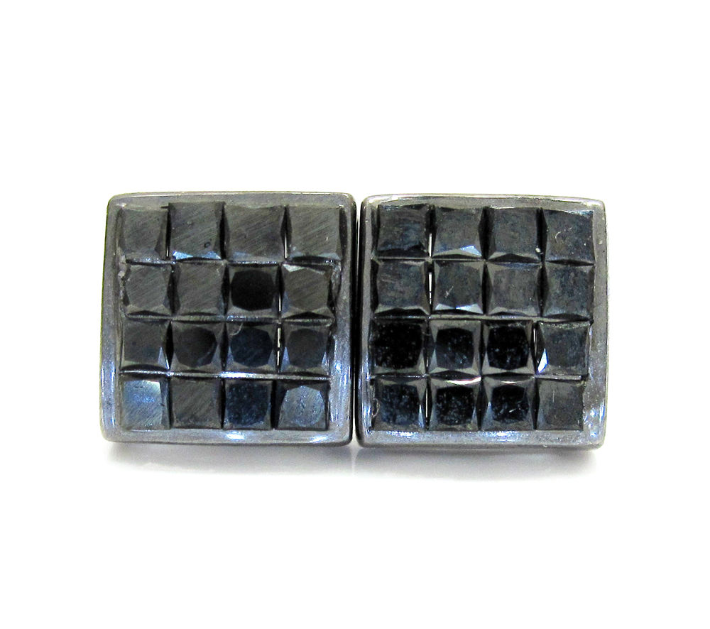 14k black gold black diamond cube earrings 1.40ct