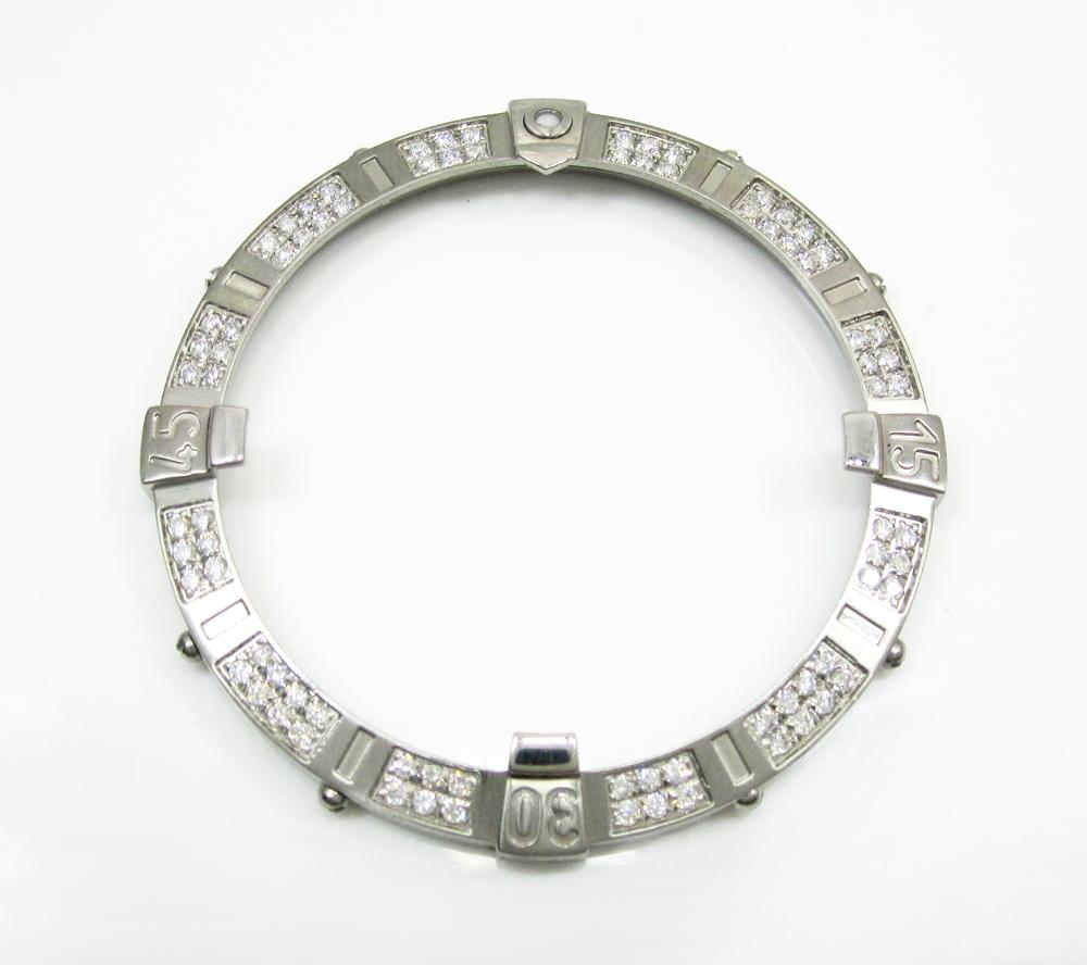 Mens original breitling white stainless steel diamond bezel 1.61ct