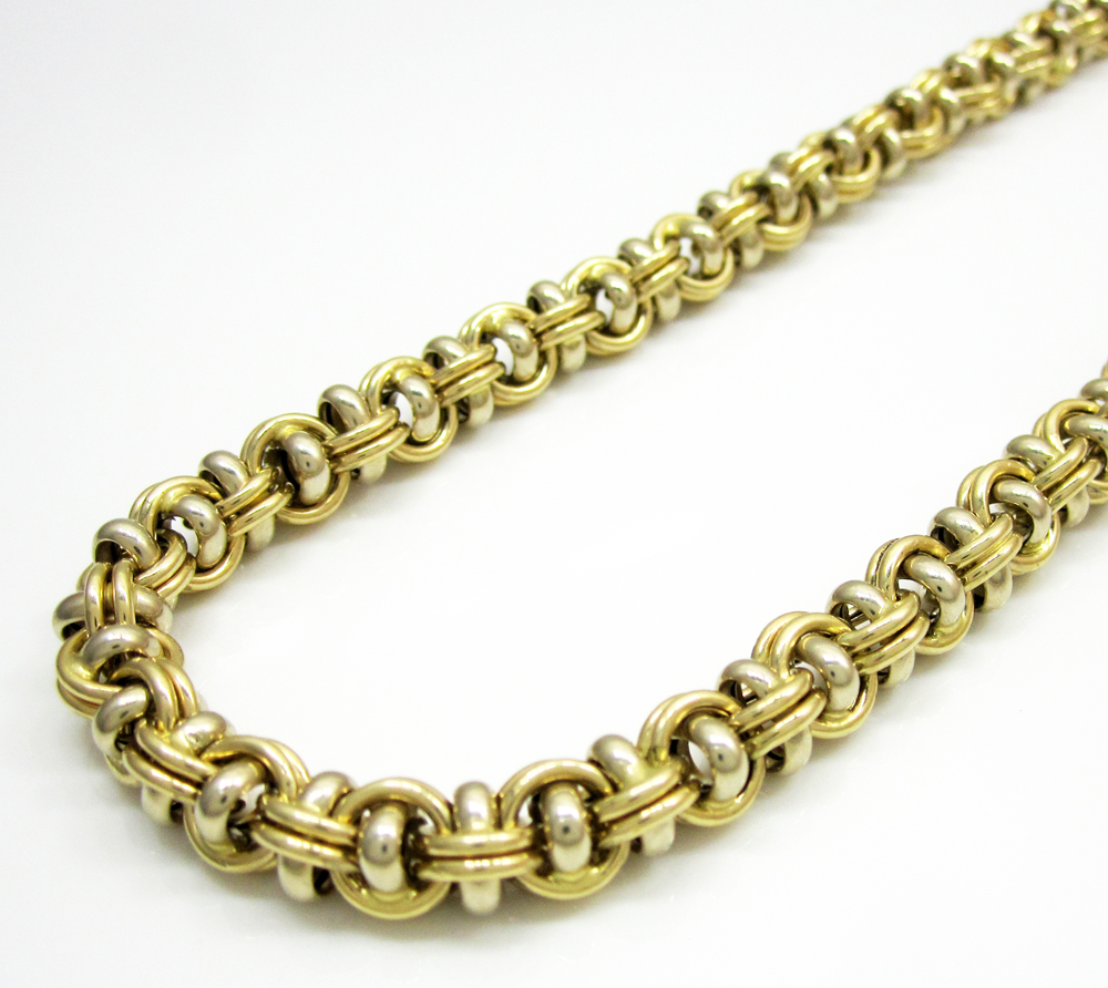 Italian Gold Chain >> 14k Solid Two Tone Gold Fancy Italian Chain 24 Inch 6 8mm