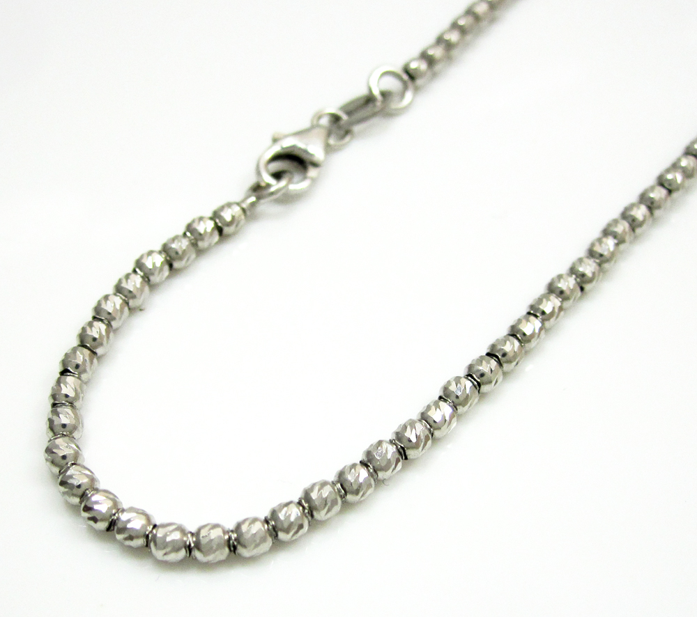 14K White Gold Diamond Cut Bead Bracelet 8 Inch 2mm