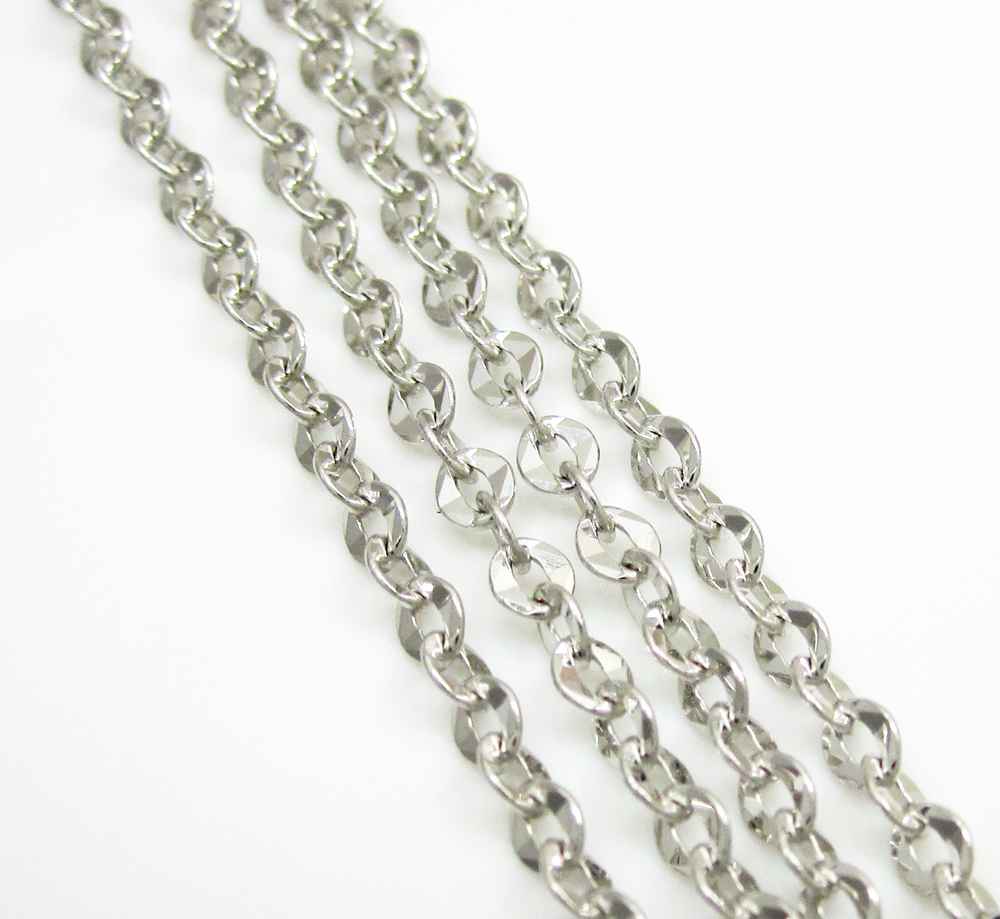 14k solid white gold diamond cut circle link chain 18-30 inch 2.2mm