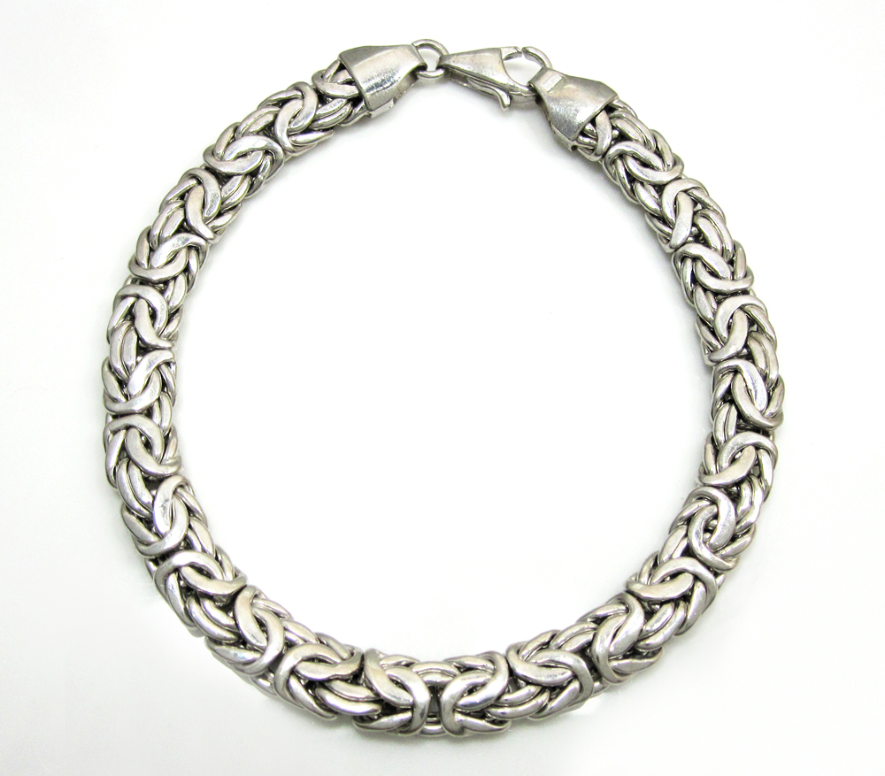 14k white gold solid byzantine bracelet 7.25 inch 6.8mm
