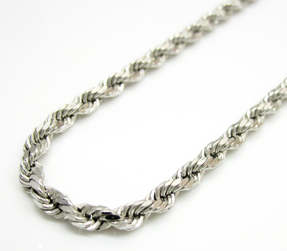 14k hollow white gold rope chain 20 24 inch 3mm aloadofball Images