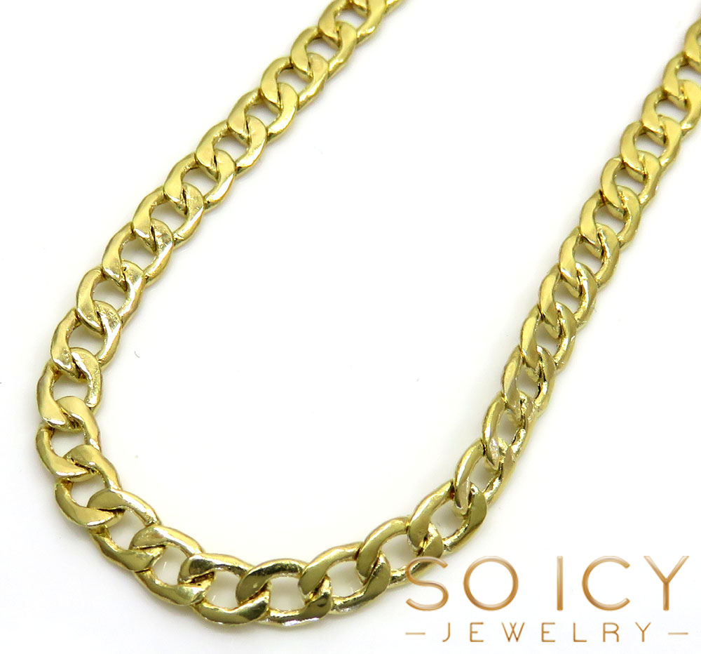 10k yellow gold hollow cuban chain 18-24 inch 3.60mm