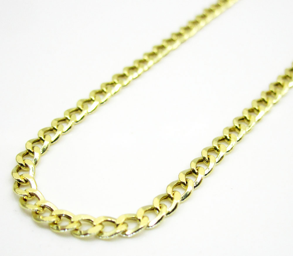 10k yellow gold hollow cuban chain 18-24 inch 2.50mm