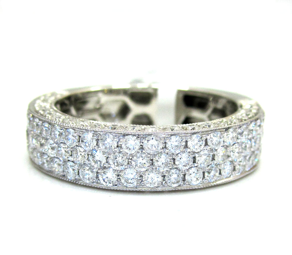18k gold three diamond row wedding band ring 1.65ct