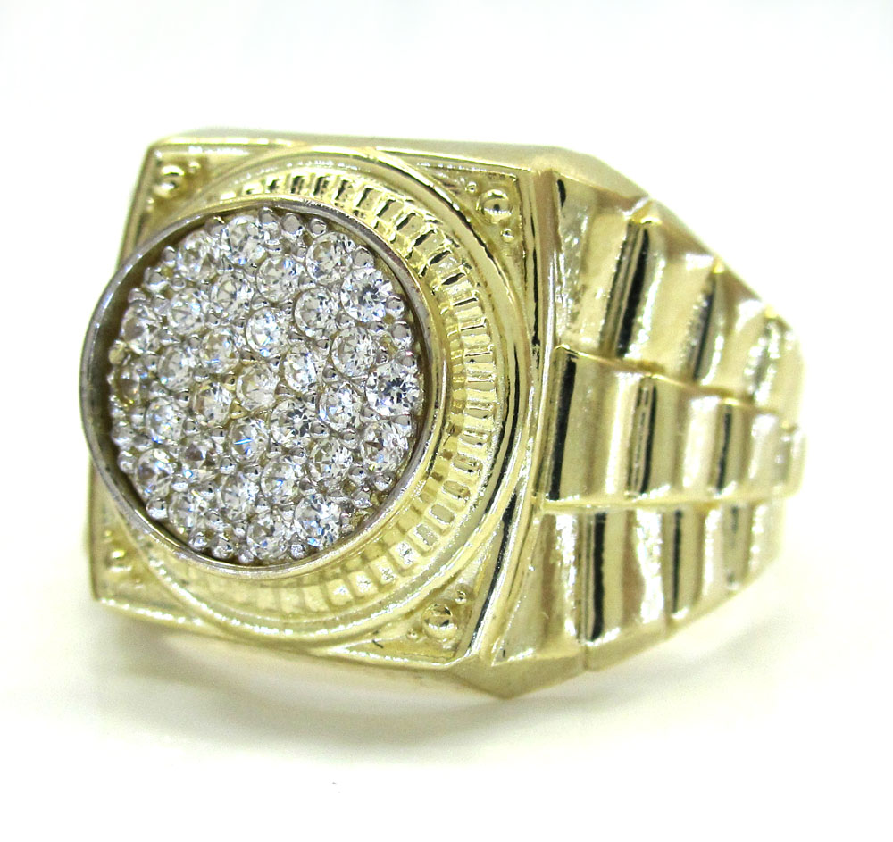 10K Yellow Gold Presidential Style CZ Ring 0.93CT