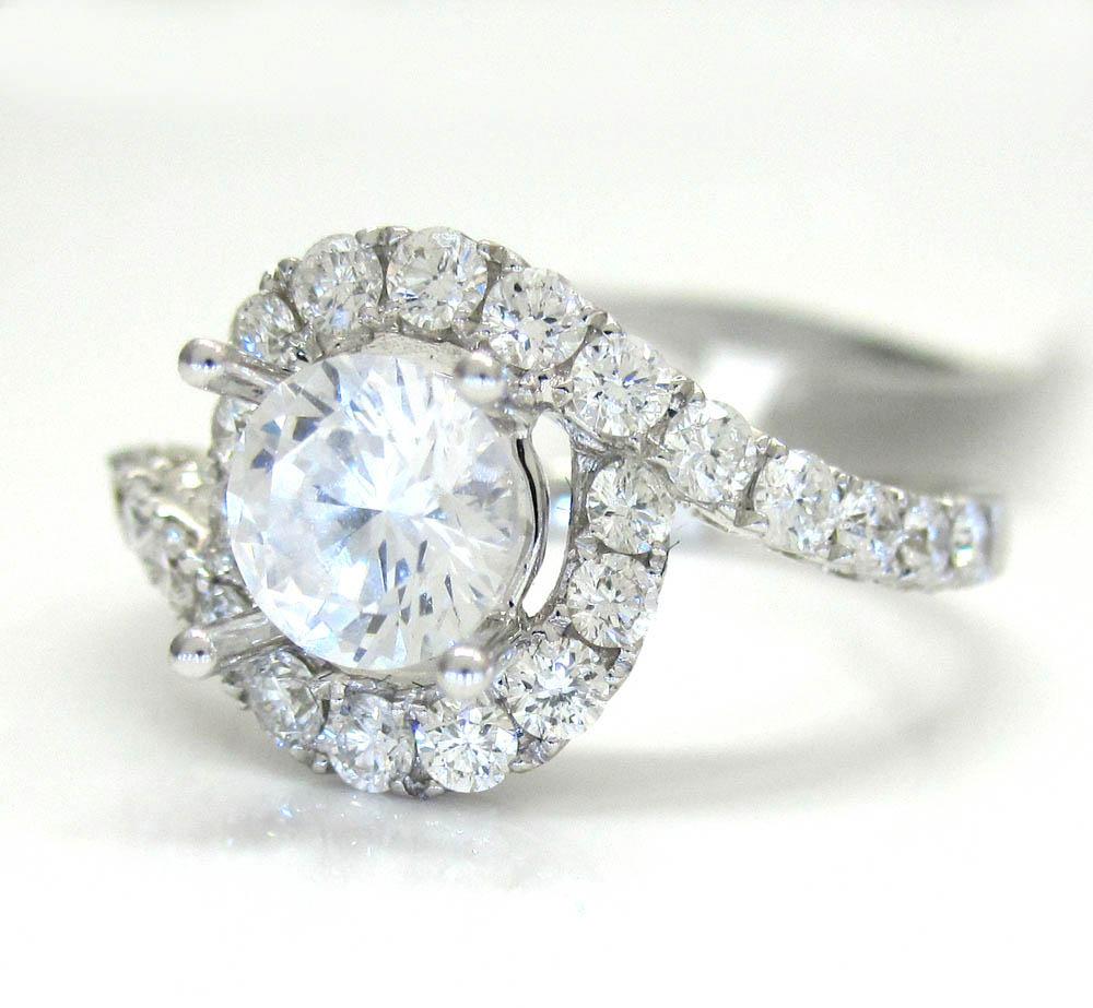 18k white gold round diamond swirl semi mount ring 1.55ct