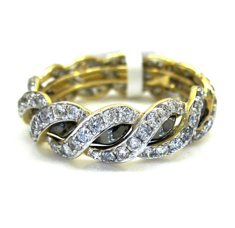 Ladies 14K Yellow Gold Diamond Eternity Wheat Wedding Band Ring 1.23CT