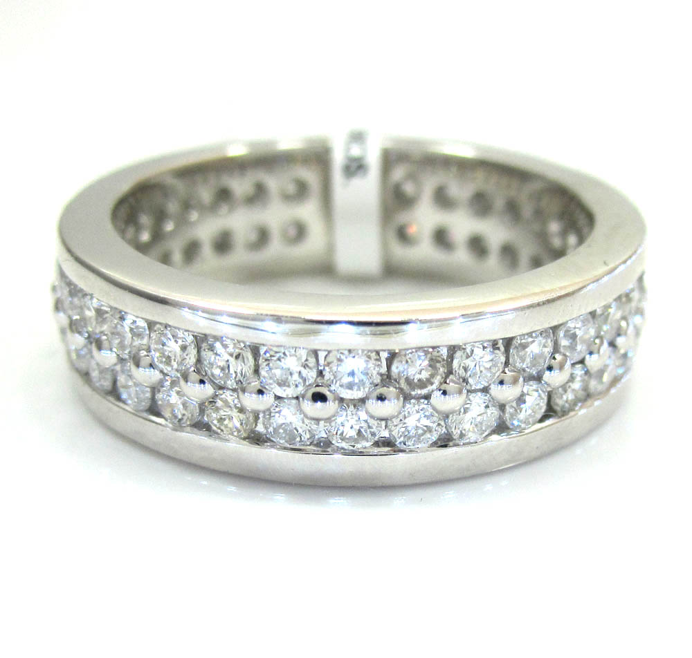 Ladies 14k white gold two row diamond eternity wedding band ring 1.63ct