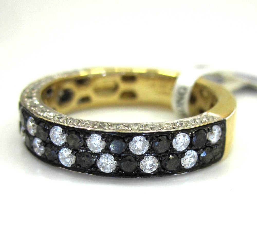 Ladies 14k yellow gold black & white diamond piano wedding band ring 1.28ct