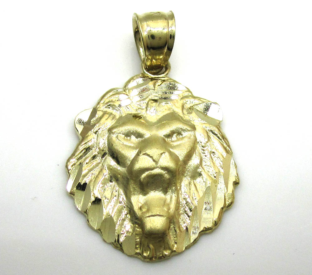 10k yellow gold mini lion head pendant
