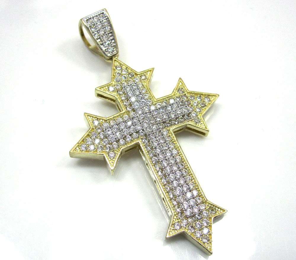 10k yellow gold two tone cross pendant cz 0.25ct