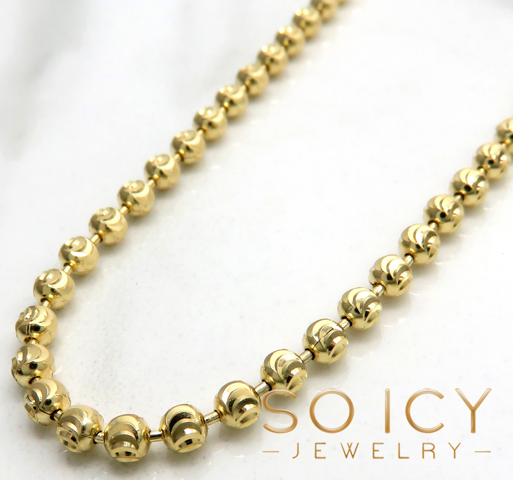 10k yellow gold moon cut bead link chain 24-30 inch 3mm