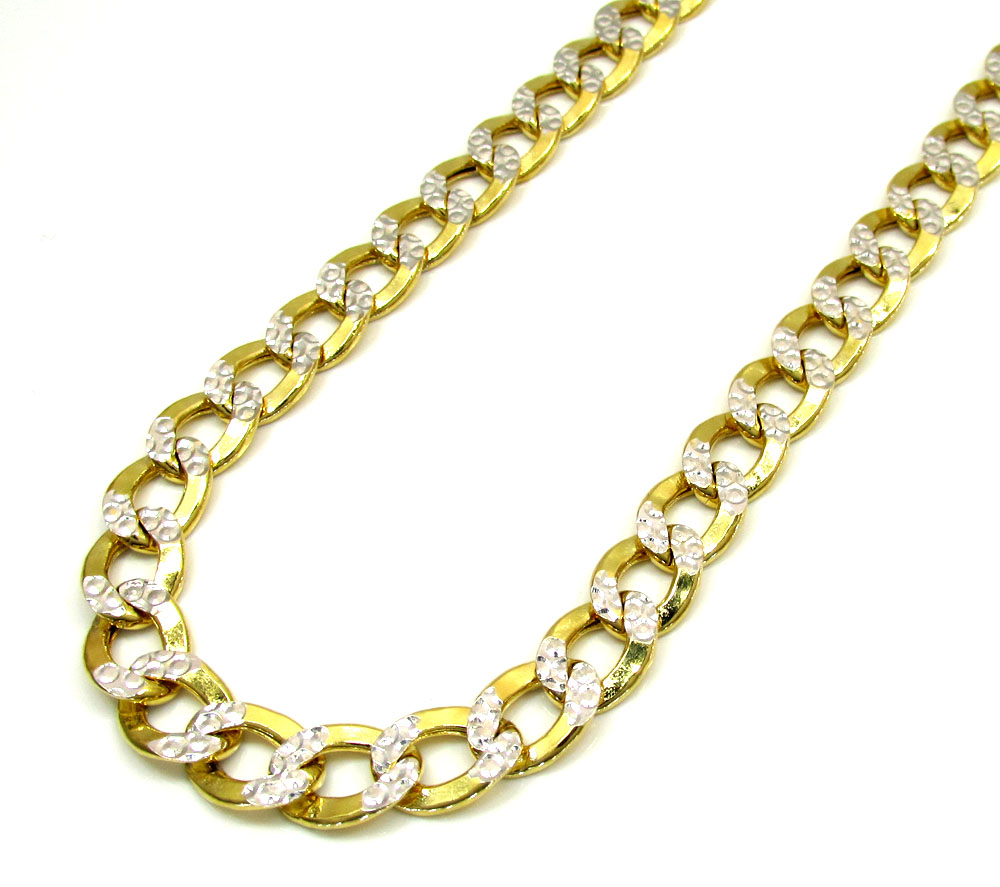 10k yellow gold thick diamond cut cuban chain 22-24 inch 7.6mm