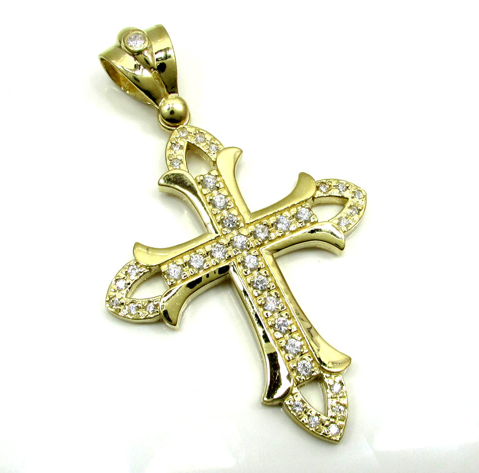 Mens medium 10k yellow gold cz cross pendant 1.25ct