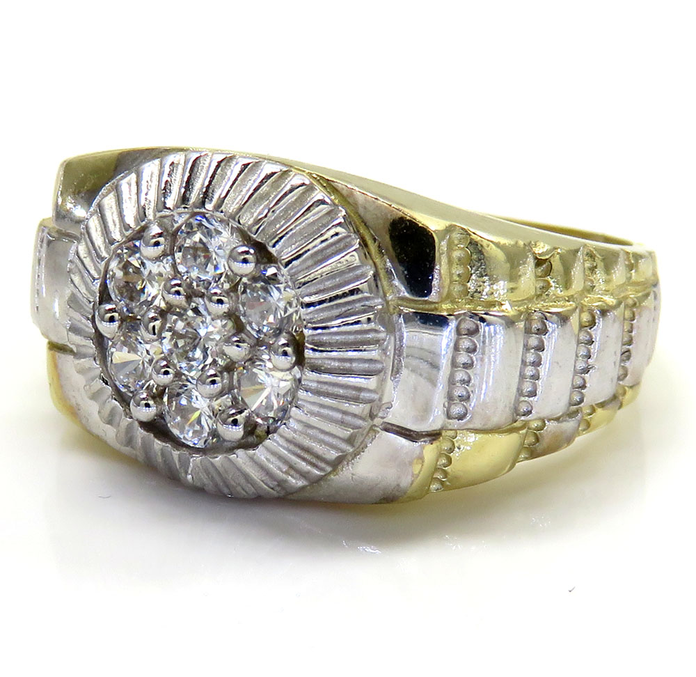 10k two tone small cz presidential ring 0.45ct