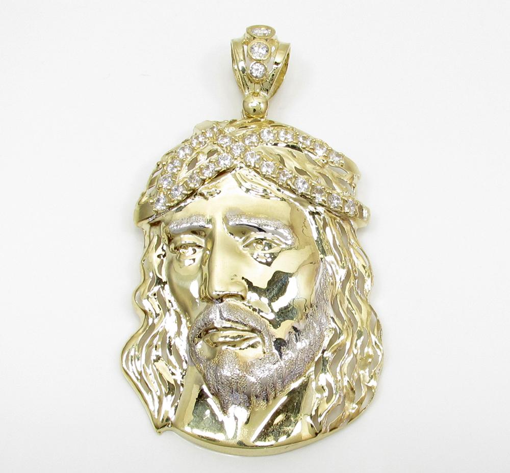Mens 10k two tone cz medium jesus head pendant 300ct mozeypictures Gallery