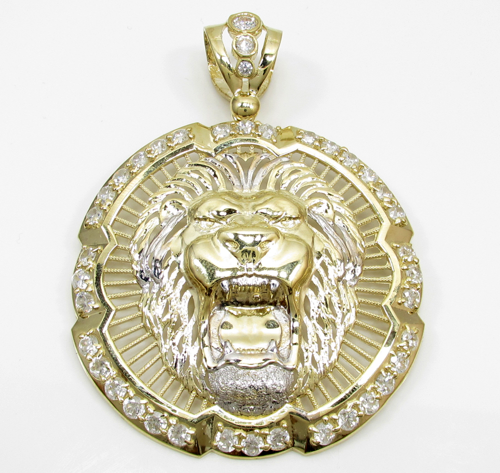 10k yellow gold lion head halo pendant 200ct aloadofball Choice Image