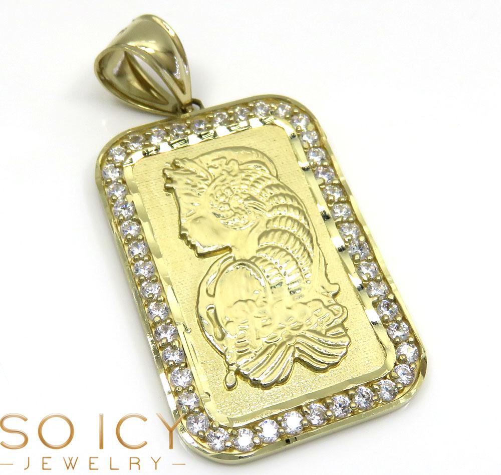 10k yellow gold gold bar meduim pendant 0.50ct
