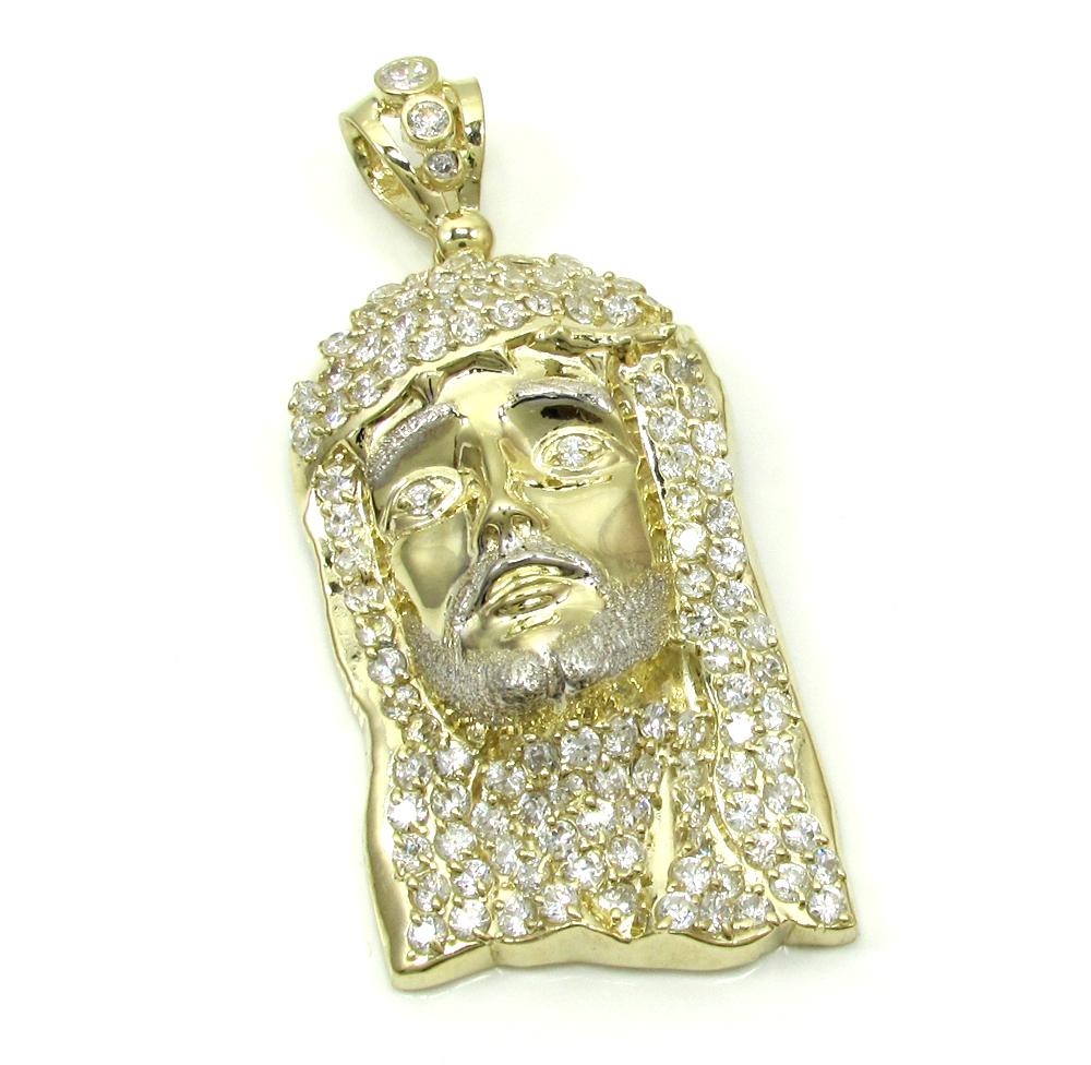 Mens 10k yellow gold fully iced cz jesus pendant 1.50ct