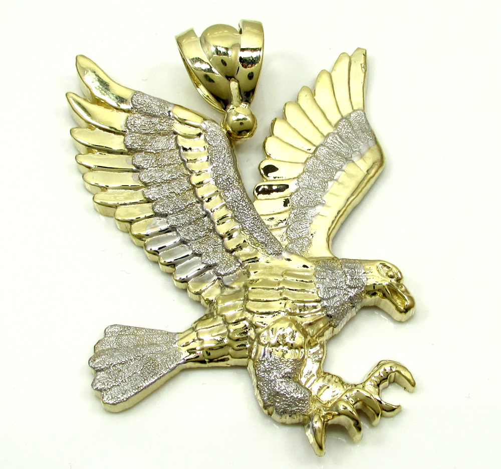 Mens 10k yellow gold two tone flying eagle pendant