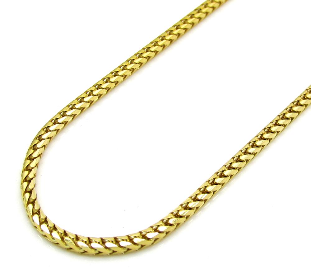 10K Yellow Gold Solid Skinny Franco Link Chain 2426 Inch 15mm