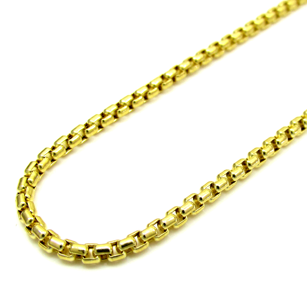 10k yellow gold skinny venetian box chain 22-24 inch 2.0mm