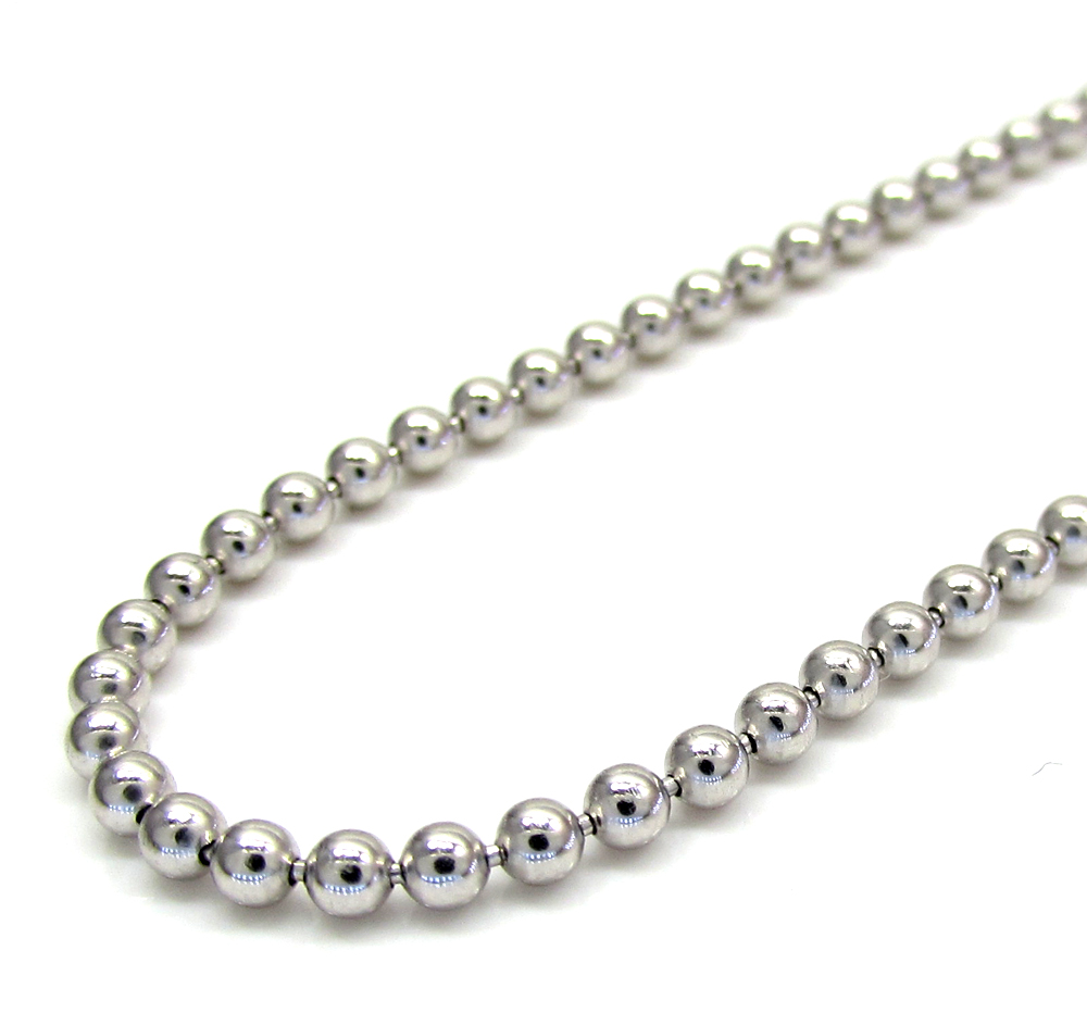 10k white gold smooth bead link chain 20-28 inch 2.2mm