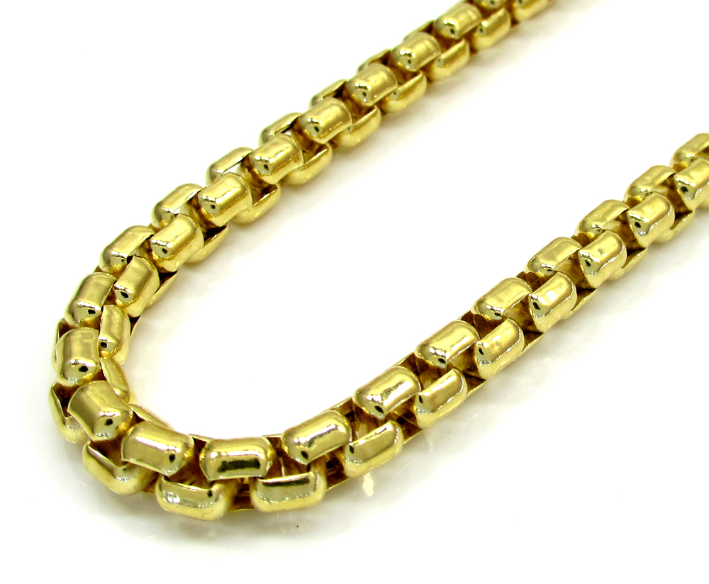 10k yellow gold thick venetian box chain 24-30 inch 5.0mm