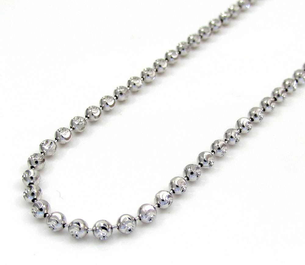 10k white gold moon cut skinny bead link chain 22-26 inch 2.0mm