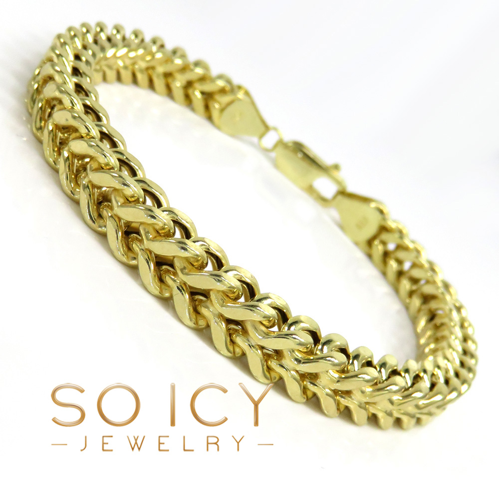 10k yellow gold wide franco bracelet 9 inch 7mm