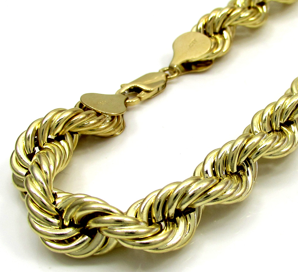 10k yellow gold thick smooth hollow rope bracelet 8.50 inch 8mm